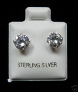 6mm Round Clear Cubic Zirconia Silver Stud Earrings
